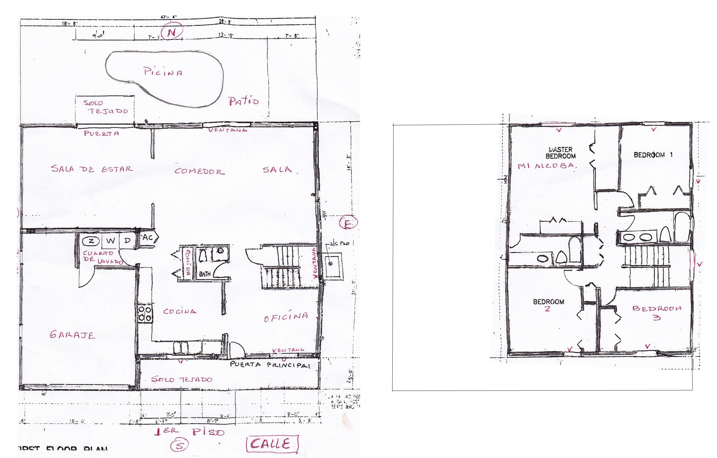 Colocar el mapa bagua del feng shui en una casa de dos for Planos de oficinas pequenas